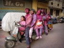 Family in Dehli during Holi Festival
